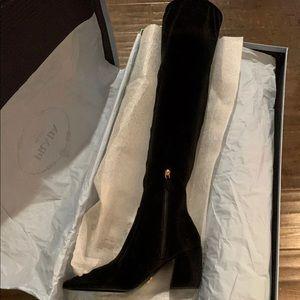 PRADA Black Velvet Pointed Toe Knee High Boots